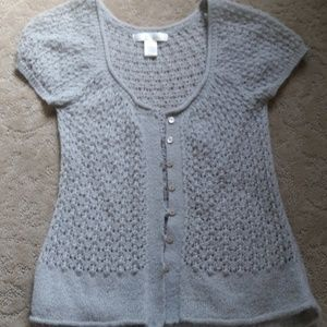 Short Sleeve Crocheted Button down Sweater